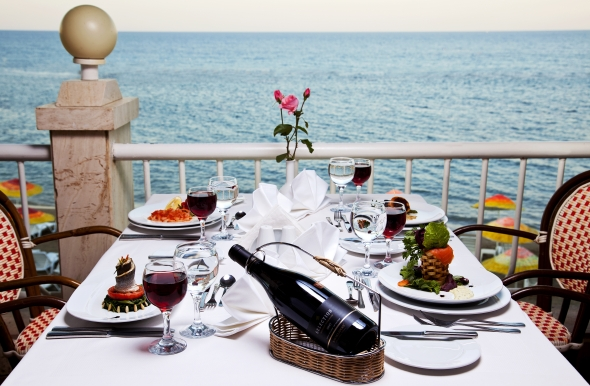 Dinner at the terrace by the seaside